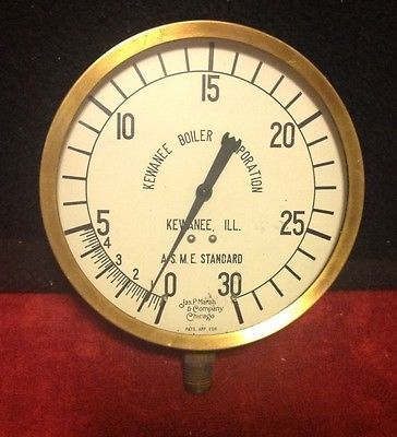 Vintage-5-034-Kewanee-Boiler-ASME-Brass-Copper-Jas-P-Marsh-Gauge-Steam-Punk-0-30