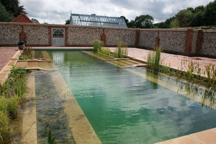 The natural pool, doesn't fight nature tooth and nail.  It embraces it in a very tangible way.  Instead of engaging in chemical warfare, the natural pool uses an ecosystem of plants to cleanse and filter your swimming water.  To do this, designers create a wetland in a shallow and distinct area of a pool to act as a biological filter.