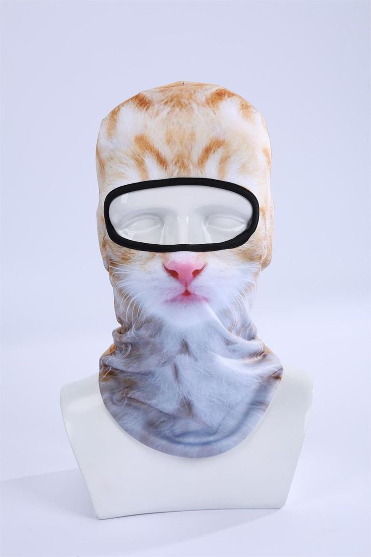 Cream and white Cat Face Mask Outdoor Sports Bicycle Cycling Ski