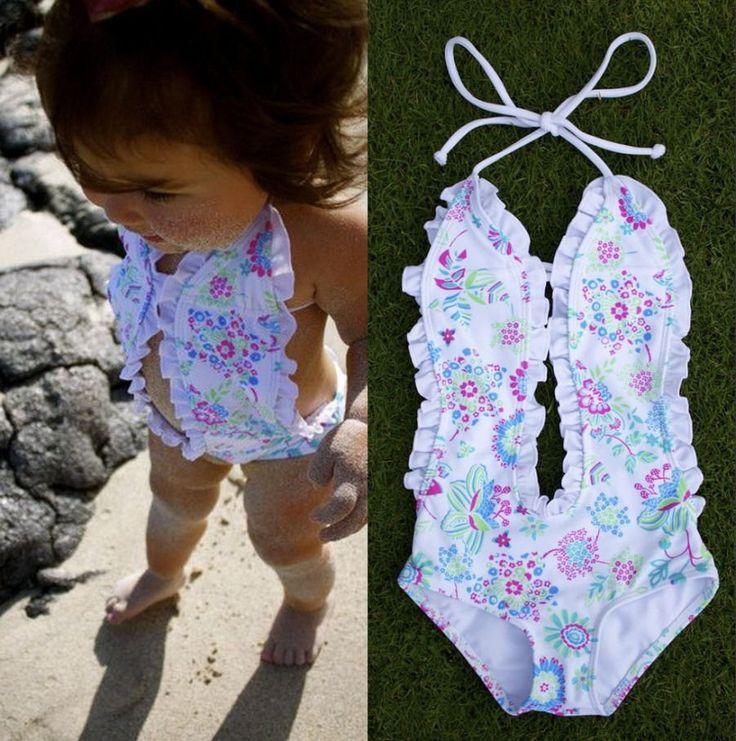 2017 Hot Sale Baby Girls Swimwear Floral Halter Split Bikini Hollow Out Swimwear Bathing Suit Swimsuit Costume 1-6Y