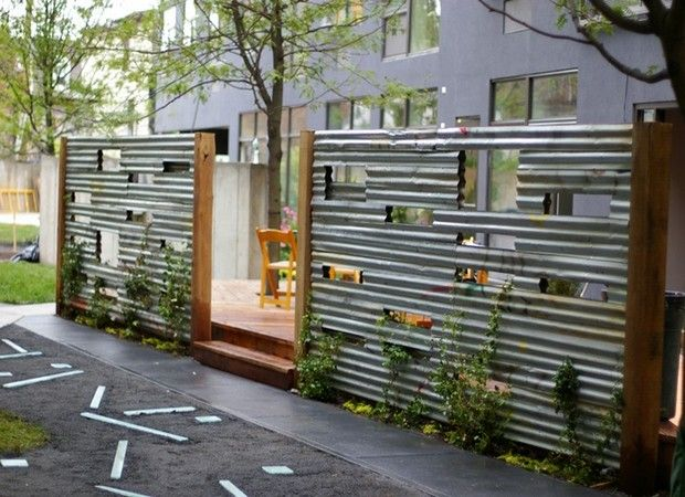 Corrugated Metal Fence Diy in Fence for Home