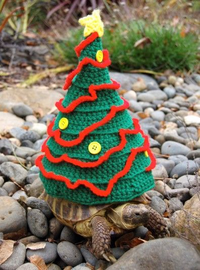 Katie Bradley, 32, has made 800 of the cute woolly suits for the shelled animals- transforming them into a giant Christmas tree, reindeer and Santa's hat.  Other unique suits, made from coloured acrylic yarn include a roast chicken, cheeseburger and American football.