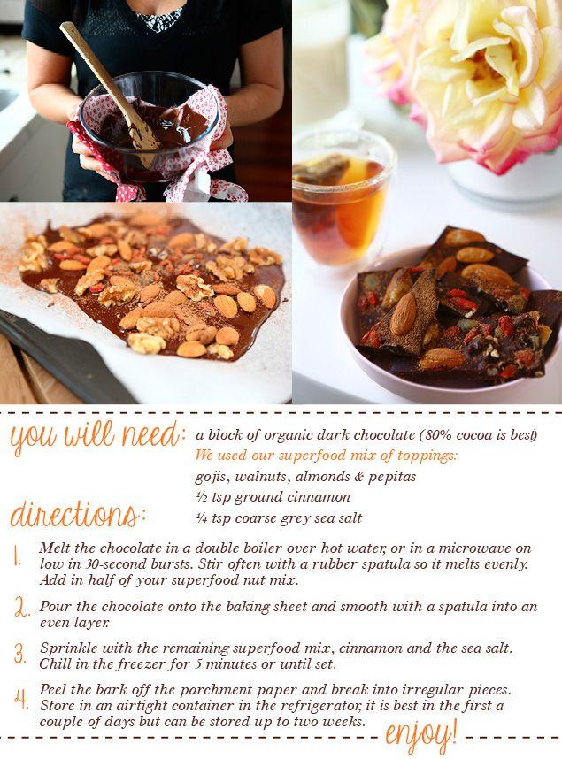 Fruit and nut chocolate recipe.