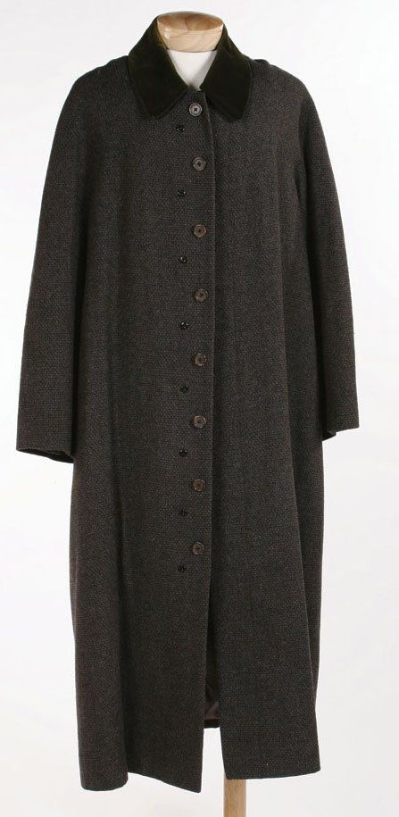 """Long, wool button front trench coat with green velvet collar. Worn by Christopher Lloyd as """"Uncle Fester"""" in Addams Family Values"""" (1993)"""