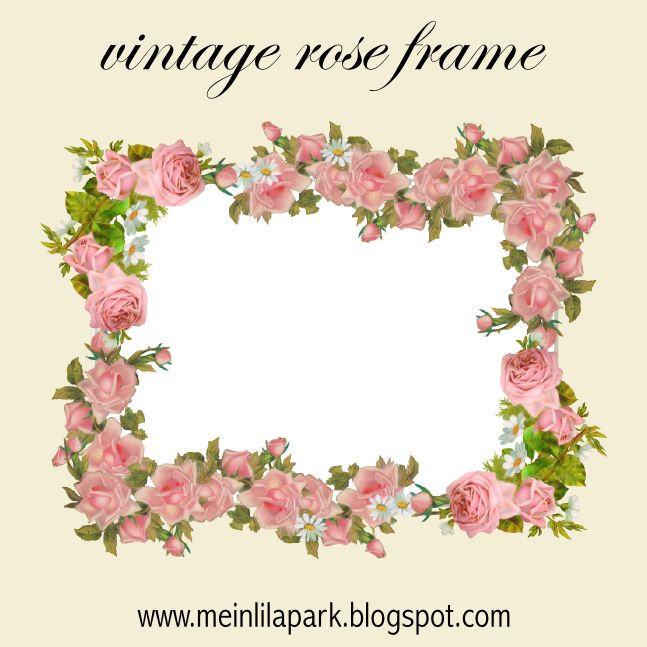 Free digital vintage rose frame and scrapbooking paper - Rosenrahmen - freebie | MeinLilaPark