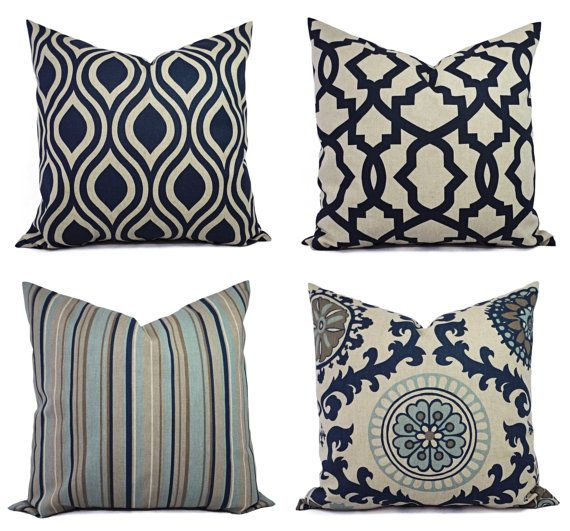 Two Blue Decorative Pillow Covers Navy Blue by CastawayCoveDecor