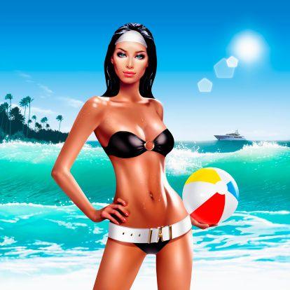 Женщина в стиле ретро бикини стоя на пляже