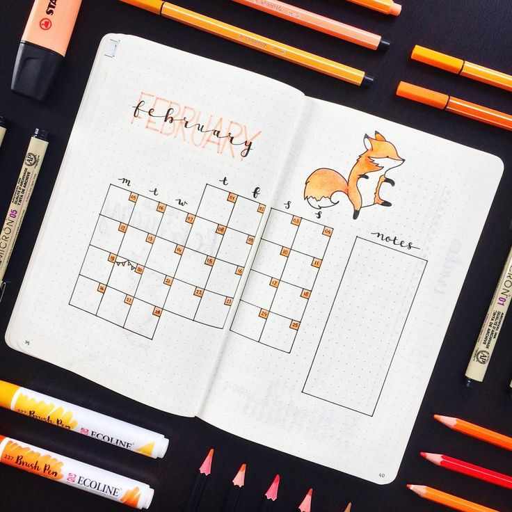 "276 Likes, 12 Comments - ✨ Jildau (@agirlthatjournals) on Instagram: ""Simple layout for my monthly overview. Sticking with the fox theme for now  • - - - - -…"""
