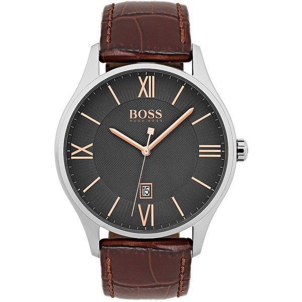 Hugo Boss Men's Classy Stainless Steel Watch (630 BRL) ❤ liked on Polyvore featuring men's fashion, men's jewelry, men's watches, brown, mens roman numeral watches, mens leather strap watches, mens watches, mens stainless steel watches and mens brown leather watches
