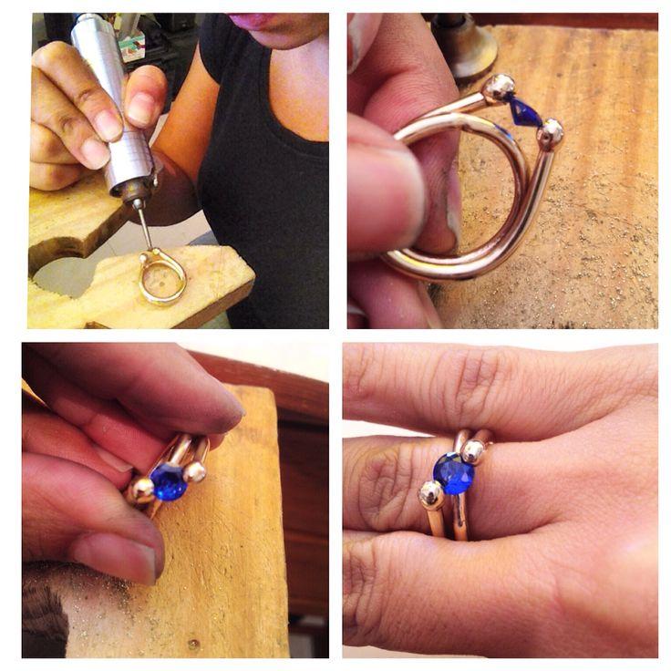 Circón engastado artesanalmente #ring #anillo