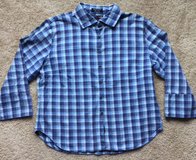 F. By FACONNABLE Women's Blue Checkered Button Down Shirt ~EUC~ Size Large | eBay