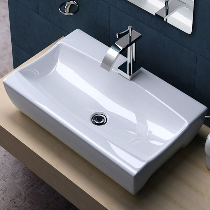 Durovin Ceramic Bathroom Wall Mounted CounterTop Rectangular Basin Sink  Bowl 890