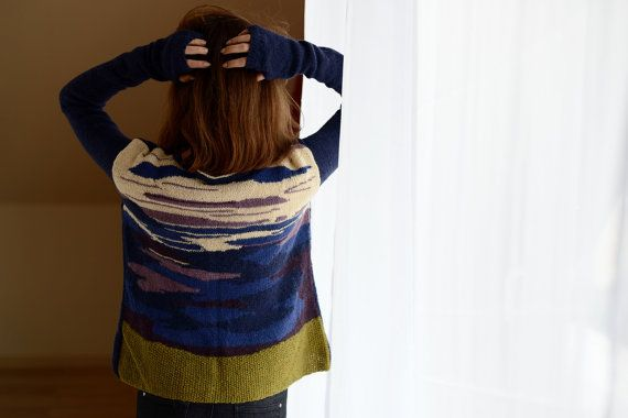 Boho sweater Colorful pollover Women's by Isabellwoolstudio