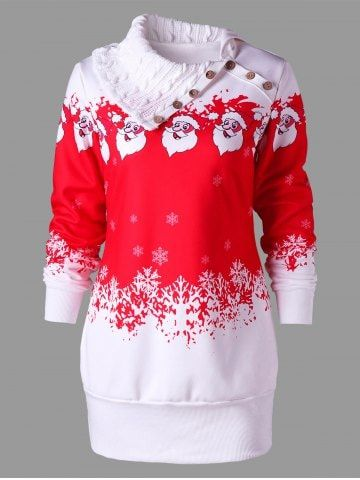 Santa Claus Printed Plus Size Tunic Sweatshirt Dress