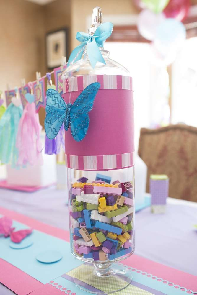 Lego Friends birthday party table centerpiece! See more party planning ideas at CatchMyParty.com!