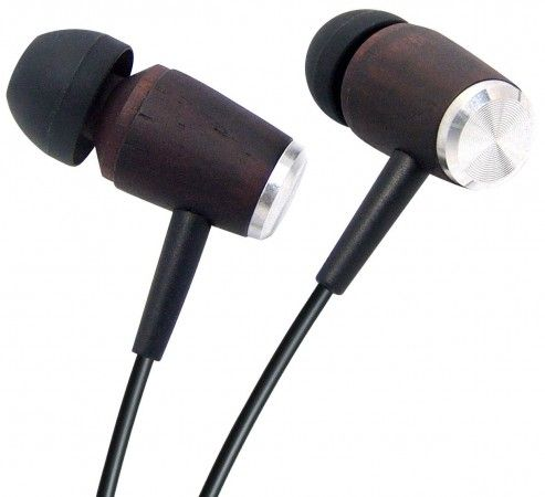 Wooden earplugs / in-ear headphone ebony