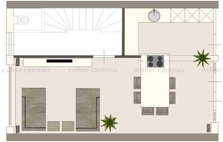 1. Open keuken met kook/eeteiland. Er is plaats voor 6 barkrukken aan het eetgedeelte. Het eiland is 120 breed en totaal 225 lang. 2. Drie hoge kasten met plaats voor onder andere vaatwasser, koel/vriescombinatie, (stoom)oven, magnetron, koffieapparaat etc. 3. Afzet-werkruimte en spoelbak. 4. Audiokast. Erboven is ruimte voor een tv. 5. Grote loungebank.   #interieurontwerp #interieur #plattegrond #groundplan #doorzonwoning #indelen #kookeiland #keuken