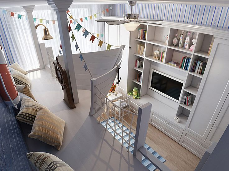 Gemi temalı çocuk odası