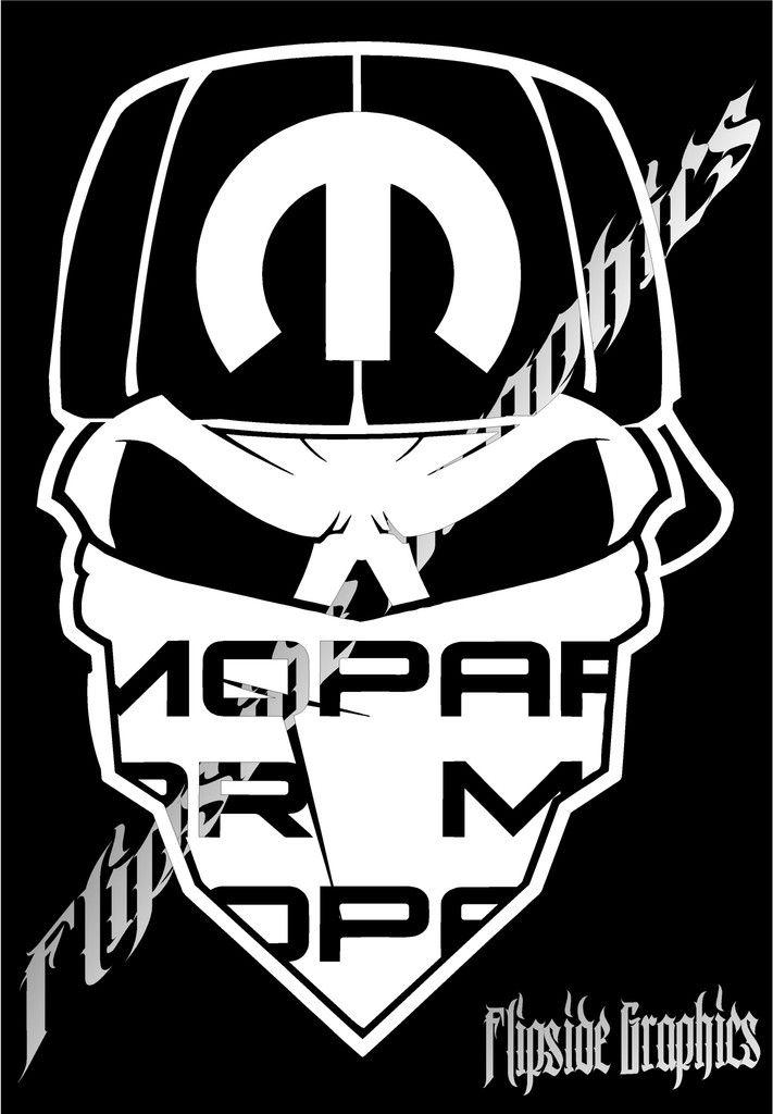 Mopar Custom Bandana Skull Windows Cars Trucks Vinyl