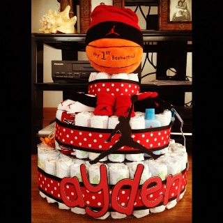 diaper cake baby shower gift sports theme centerpiece baby
