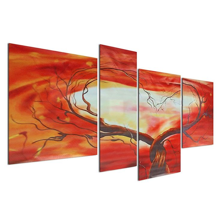 4PCS Unframed Huge Modern Abstract Art Love Tree Oil Painting Canvas