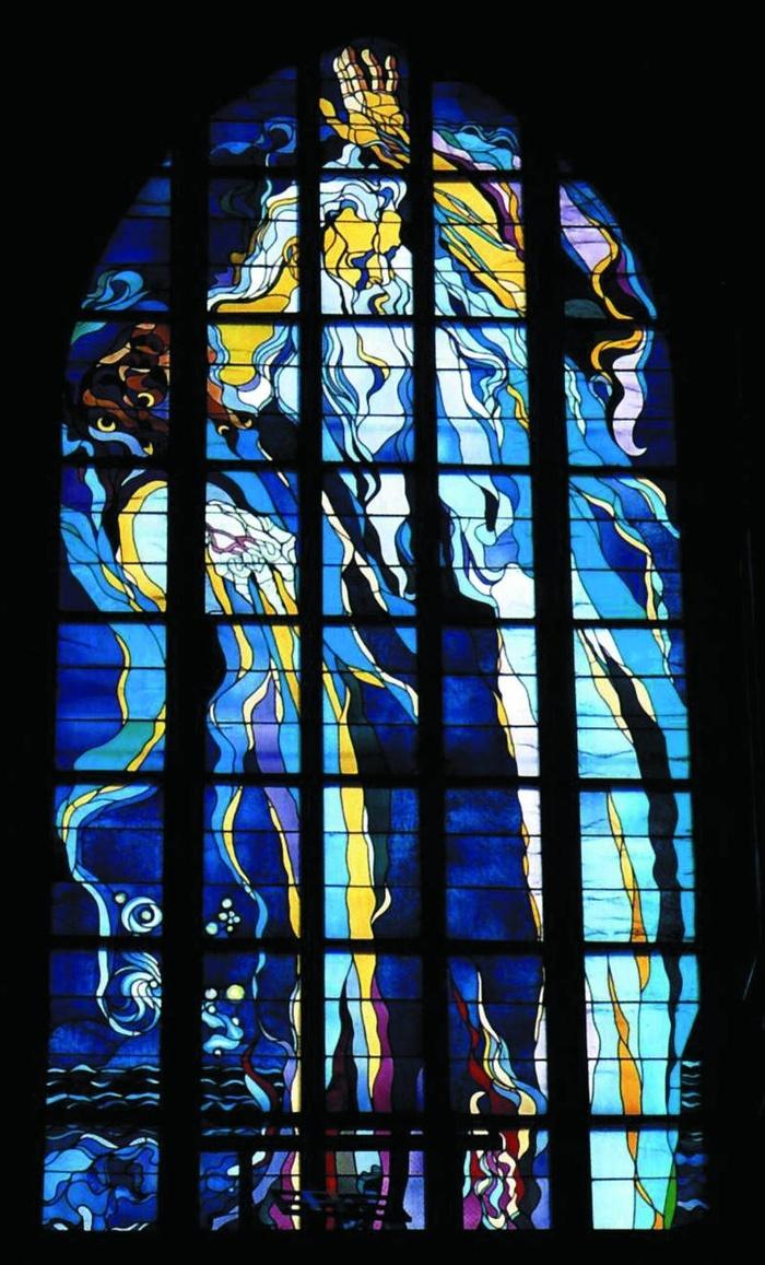 """Stanisław Wyspiański, """"God the Father - Become!"""", stained glass window for the Franciscan Church in Kraków, 1897-1904"""