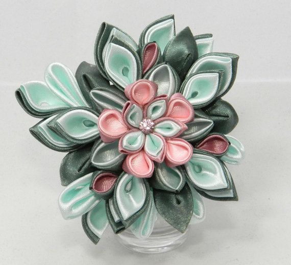 Tsumami kanzashi flower brooch-hairclip by LazuritLouise on Etsy
