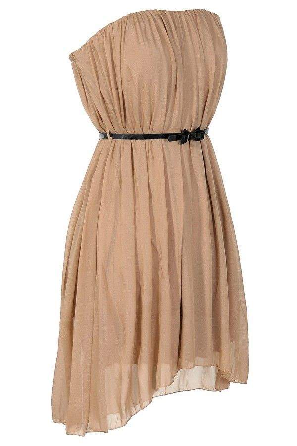 Cute strapless dress in nude - versatile and dressy!
