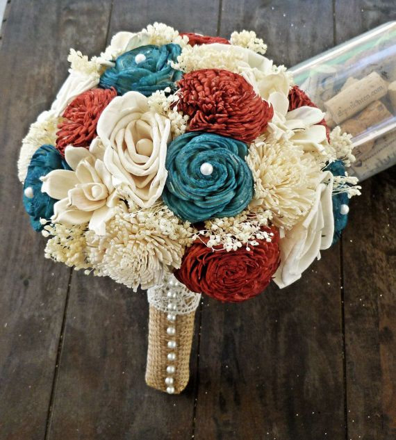 Ready To Ship 4th of July Wedding Bouquet  by CuriousFloralCrafts