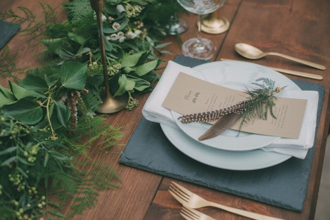 Bohemian feather place setting