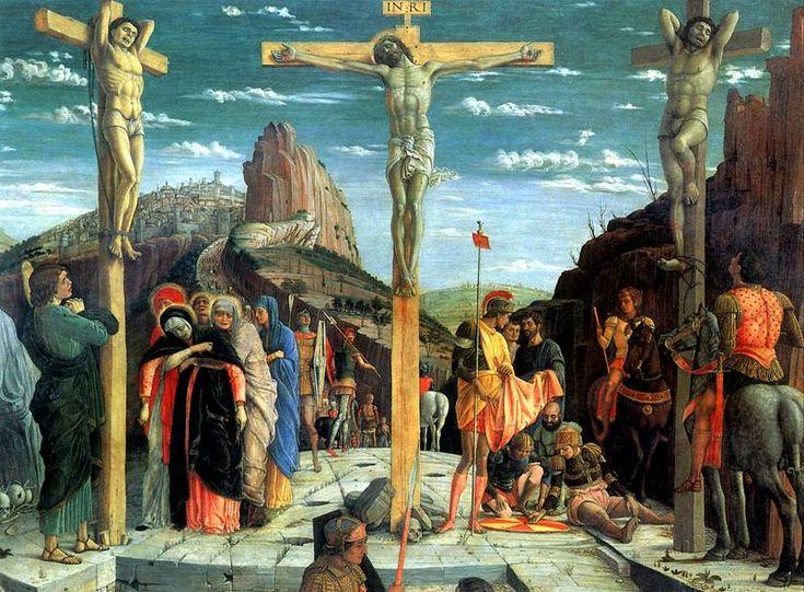 МАНТЕНЬЯ АНДРЕА. Распятие, 1457-1460.   Изола-ди-Картура (Венето), 1431 — Мантуя, 1506   Дерево, 76 х 96 см. Центральная часть пределлы из алтаря для собора Сан-Дзено в Вероне; поступила в Лувр в 1798 г.