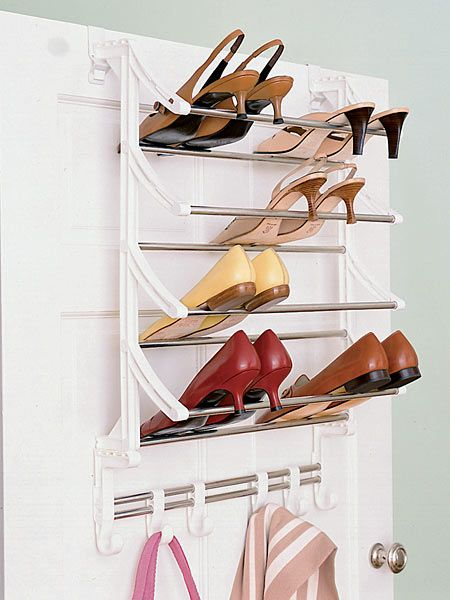 12 secrets of the closet pros one is an overthedoor shoe rack utilize the back of your closet door with a rack that holds multiple pairs of shoes
