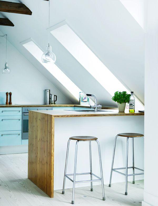 Küche unter einem Steildach Wanddeko Pinterest Attic, Kitchen