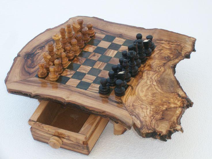 jeu d'échec : échiquier en bois d'olivier naturel : Jeux, jouets par artisanat