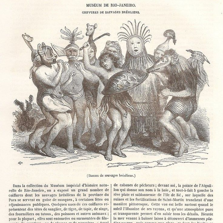 Danse Coiffure - sauvages brésilien Muséum Rio - Article Gravure de presse 1843 | eBay