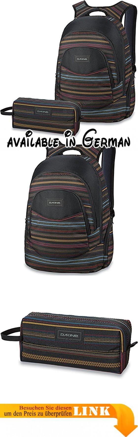 DAKINE 2er SET Laptop Rucksack Schulrucksack PROM + ACCESSORY CASE Mäppchen Nevada. Rucksack: Geräumiges Hauptfach inkl. Laptopfach, Multifunktionsfach mit Organizer-Einteilung. Frontfach, isoliertes Kühlfach, Sonnenbrillen-Fach, 2 Seitentaschen, bequeme Schultergurte und Rückenpolsterung. Außenmaße: ca. 46 x 30 x 23 cm, Notebookmaße: max. 36 x 30 x 4 cm, Volumen: ca. 25 Liter, Material und Innenfutter: 100% Polyester. Mäppchen: Geräumiger Innenteil mit Reißverschluss.