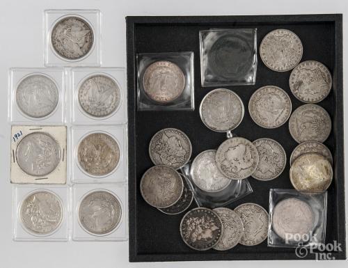 Twenty-six Morgan silver dollars. - Price Estimate: $240 - $340