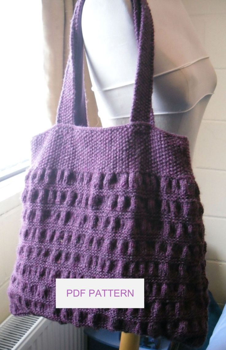 Knitting Pattern for Gathered Tote Bag - Creates a Bag sized approx W42cm x H30cm plus a  60cm Handle. Easy enough for novice knitters.  See with other tote patterns at  http://intheloopknitting.com/tote-knitting-patterns/ or Direct link to pattern on Etsy http://www.awin1.com/cread.php?awinaffid=234273&awinmid=6220&p=https%3A%2F%2Fwww.etsy.com%2Flisting%2F157158852%2Fknitting-pattern-gathered-tote-bag
