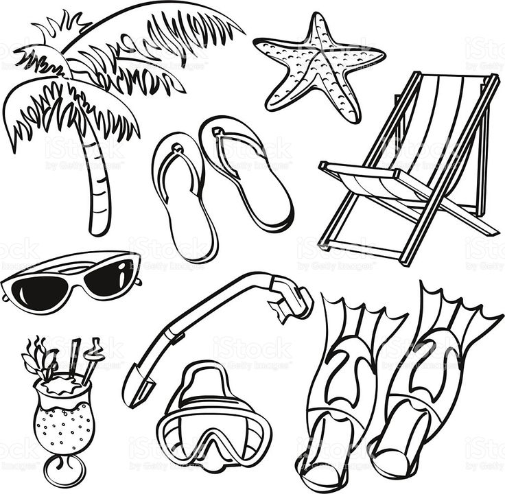 Elementi di estate spiaggia illustrazione royalty-free