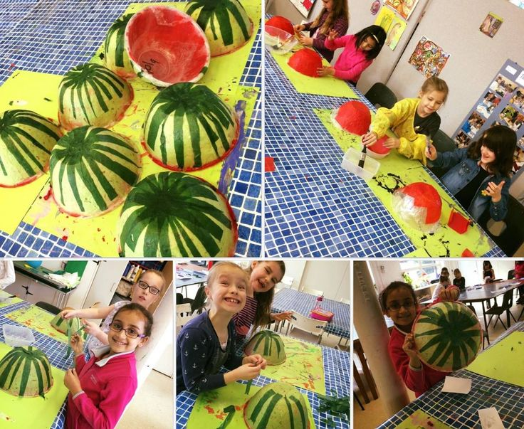 Tropical themed workshop. Watermelon bowls ready for summer!    Gloucestershire Resource Centre http://www.grcltd.org/home-resource-centre/