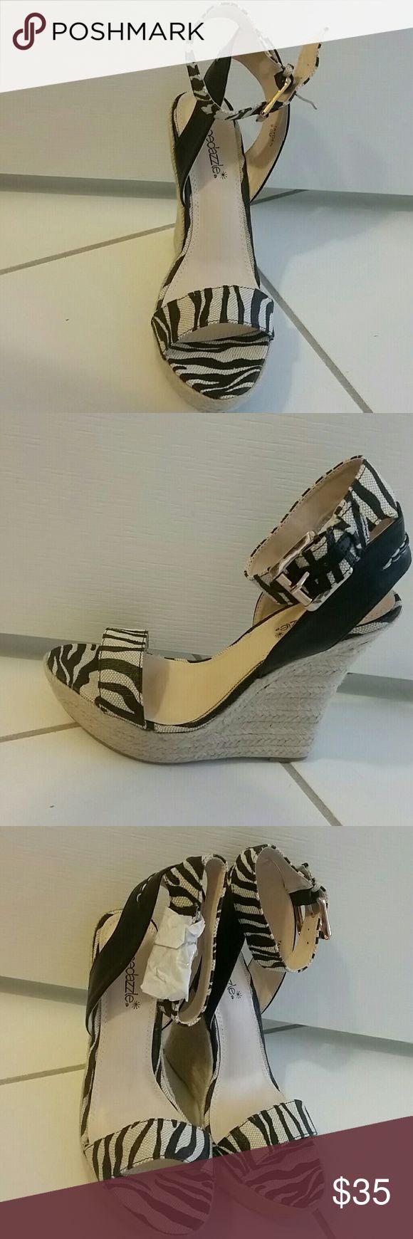 Zebra print beige wedge, never worn Zebra print beige wedge, never worn Shoes Wedges