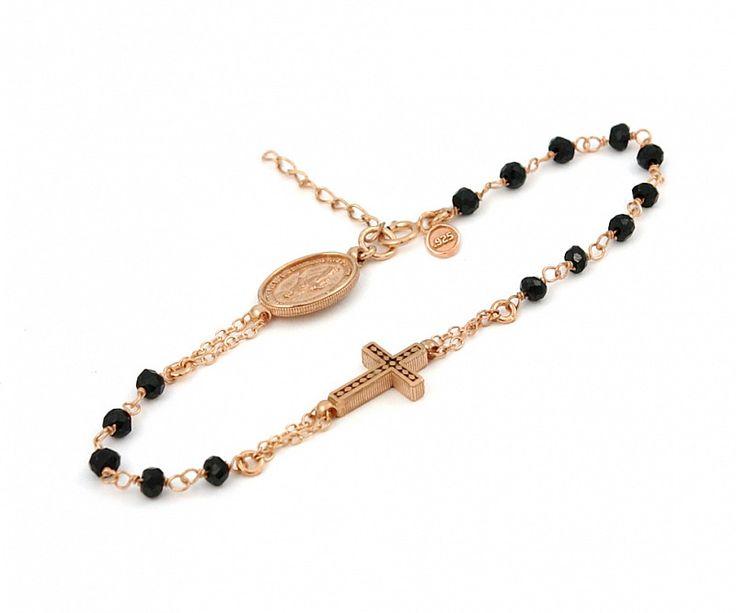 """Rose Gold Plated Sterling Silver Black Spinel Rosary Bracelet 7"""" + 1"""""""