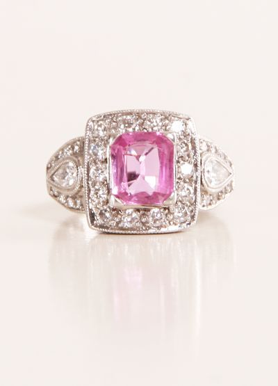 vintage pink sapphire & diamond ring <3