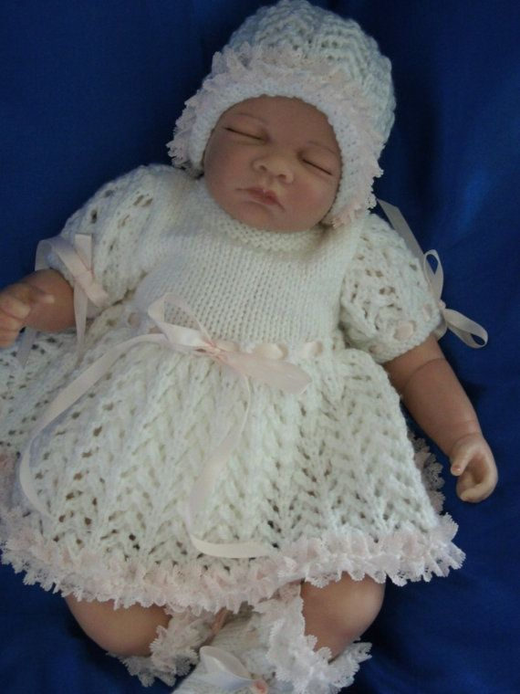 knitted Baby Girl's Coming Home Outfit Dress, Pants, Hat ...