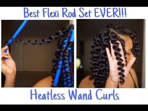 Natural Hair Flexi Rod Set l Heatless Wand Curls [Video]  Read the article here - http://blackhairinformation.com/video-gallery/natural-hair-flexi-rod-set-l-heatless-wand-curls-video/