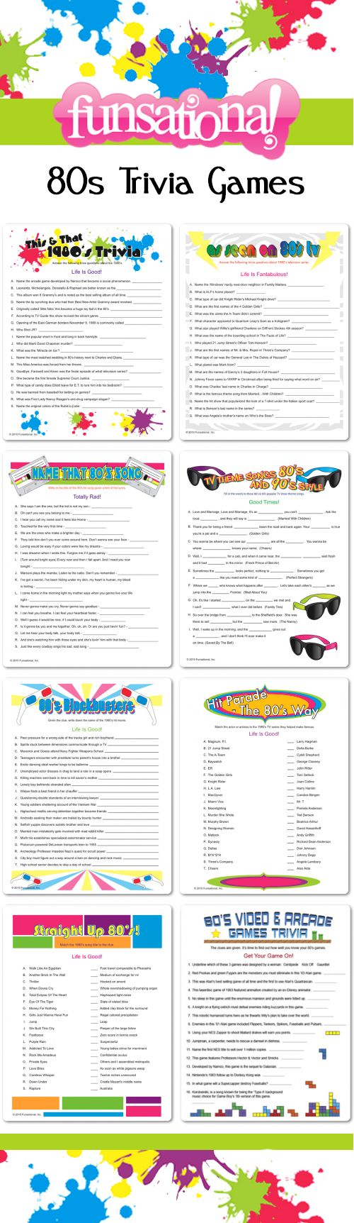 80s Trivia Games from Funsational. Personalize each one! #partygames