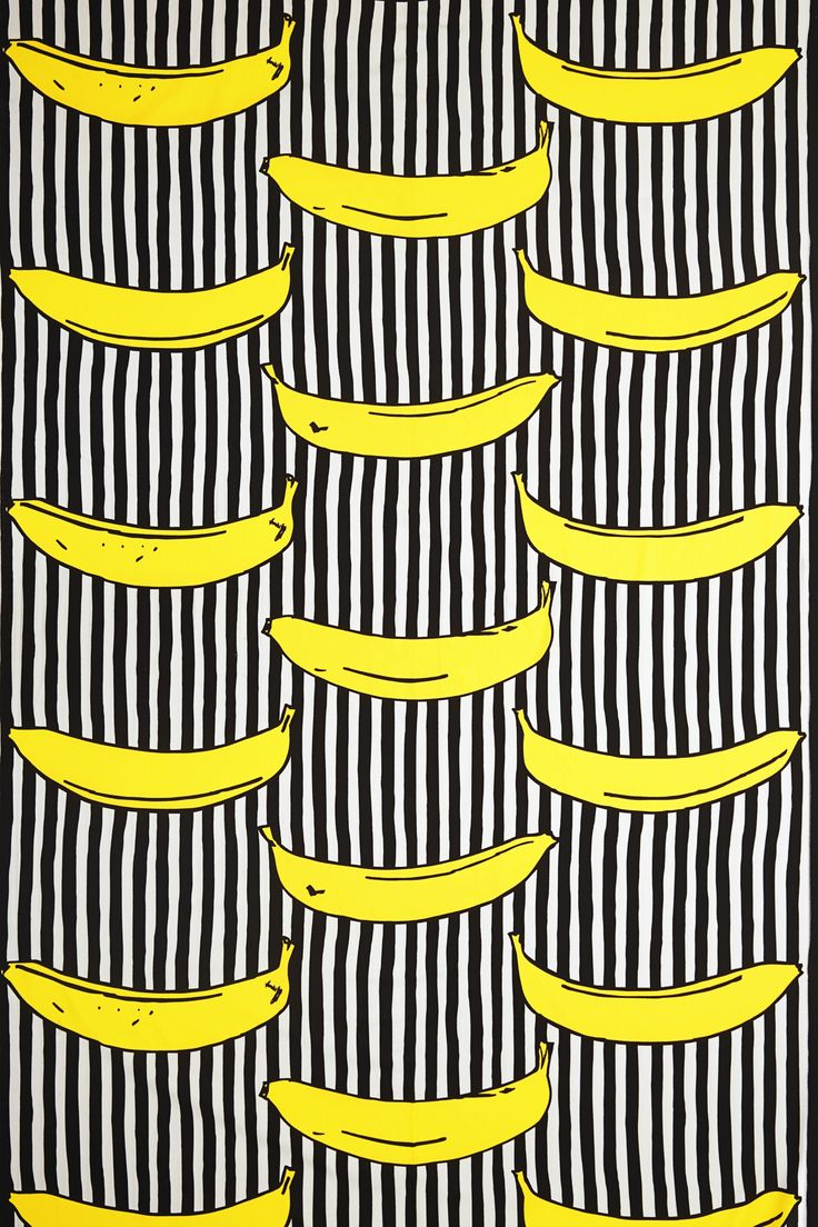 "IKEA classic fabric ""Randig banan"" (""Stripy banana""). Design Inez Svensson, 1986. Made a brief comeback to Ikea a few years ago, as a part of their ""Avbilda"" collection. Inspired by Andy Warhol."