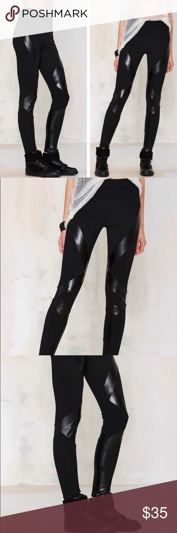 """Nast Gal • Leather Zone Out leggings Nasty Gal faux leather detailed """"Zone Out"""" leggings. Size S. Features cross cross vegan leather detail across and down the leggings. Thick material. Stretchy. Nasty Gal Pants Leggings"""