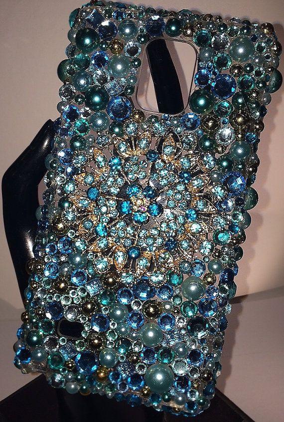 Hand created Custom Cell Phone Case Blue by KimberleeCreations