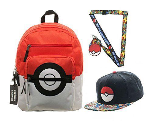 Pokemon Pokeball Backpack, Pokemon Character Pokeball Snapback & Pokemon Lanyard - Pokemon Toys: Pokemon Poke Ball, Pokeball Master Ball